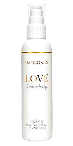 MangoKiss LOVE STRAWBERRY - Essbares Gleitgel mit Erdbeere Geschmack - Veganes Gleitmittel auf Wasserbasis - kondomgeeignet, für Oralverkehr und Sex (200 ml)