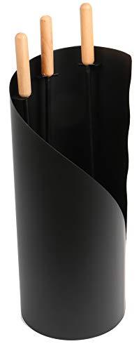 Lienbacher Kaminbesteck (3-teilig), anthrazit beschichtet, Holzgriffe