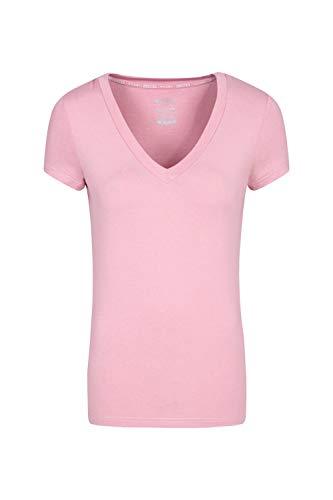 Mountain Warehouse Camiseta de Manga Corta con Cuello de Pico Vitality para Mujer - Ligera, Transpirable - Rápida absorción - para Viajes, Gimnasio y Exteriores Rosa Claro 34