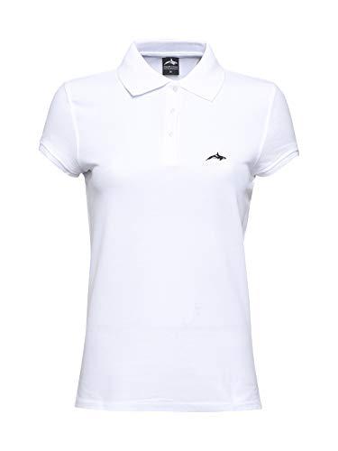 Killer Whale Polo Femme T Shirt Manche Courte Coton Pique de Marque (Blanc, M)