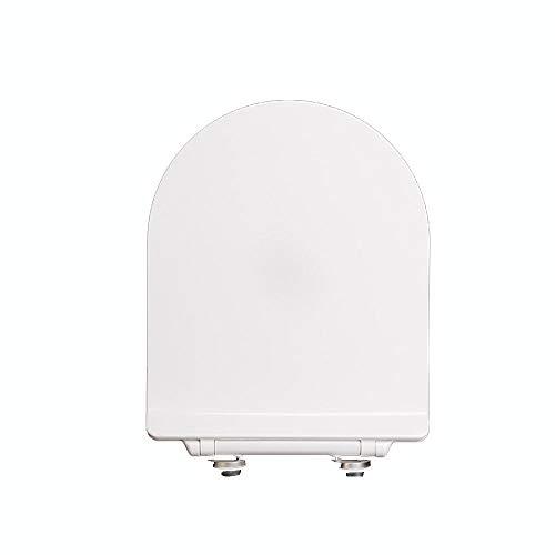 MYQ Sicherheitsrahmen WC-Sitz V/U Shaped Universal Descending Stumm Verdickung WC Deckel für Badezimmer Weiß, Unterstützung ausgelöst (Color : B) -