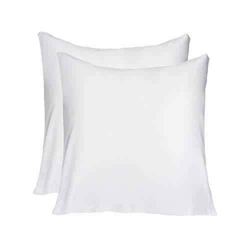 LULUSILK 16 Momme 100% Seide Kissenbezug Haar- und Hautpflege Kissenhülle knitterarm 2 Stücke 80x80cm Weiß -