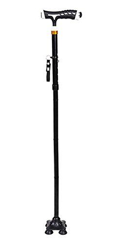 Quad-walking-stöcke Frauen Für (YAO Walking Cane Gehstock mit LED-Licht, Höhe verstellbar Höhe, zusammenklappbar , Black)
