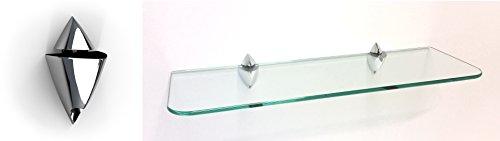 Glasregal 30x25 cm Klarglas mit Clip ICEBERG chromfarben /ROY15 abgerundete Ecken