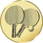 S.B.J - Sportland Pokal/Medaille Emblem, Motiv Tischtennis, Durchmesser 50 mm, gold