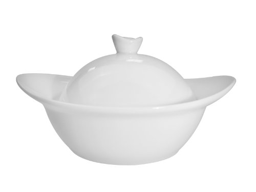 CAC China Clinton Super White Porzellanschale mit Deckel 5-5/8 by 4-3/4 by 3-Inch, 4.5-Ounce Super white; bright white -