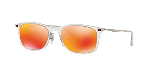 Ray Ban Unisex Sonnenbrille RB4225, Gr. Medium (Herstellergröße: 52), Mehrfarbig (Gestell: Transparent/Gunmetal, Gläser: Rot Verspiegelt 646/6Q)