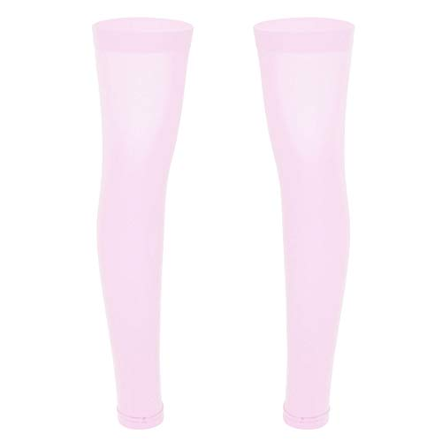 Agoky 1 Paar Herren Oberschenkel Hohe Beinstulpen Footless Knielang Beinlinge Wadenkompression Unterstützung Socken Rosa One Size