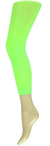 krautwear Damen Mädchen Leggins Leggings 60 den Karneval Fasching Kostüm schwarz rot rosa blau (grün-SM) (Disco Bunny Kostüm)
