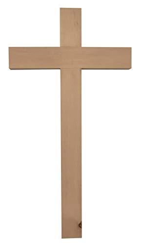 Kaltner Präsente Geschenkidee - 50 cm Wandkreuz Echt Zirbe Zirben Holz Kreuz Kruzifix für die Wand schlicht klassisch