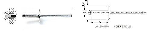 100 Rivets aveugles standards Alu/Acier Tête Large -Blanc 48X12 DEGOMETAL 116 248 121