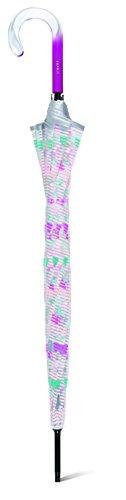 Le Monde du Parapluie - Poignée Courbée - Arc en Ciel - Happy Rain Parapluie Long Canne, Large 130 cm, 105 cm, Multicolore