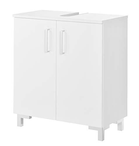 FACKELMANN Waschtischunterschrank ATLANTA / Schrank mit gedämpften Scharniere / Maße (B x H x T): ca. 60,5 x 68 x 32,5 cm / hochwertiger Schrank fürs Bad mit 2 Türen / Korpus: Weiß / Front: Weiß