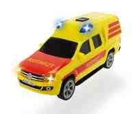 Dickie Toys 203712003-SOS Vehículos, Policía, Bomberos, ambulanz, función de Auto de Juguete con luz y Sonido, 15cm