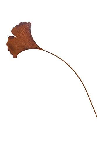 Edelrost Gartenstecker Gingkoblatt 30cm x 120cm GROßE VARIANTE