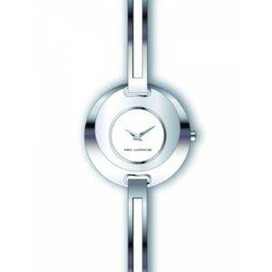 Ted Lapidus–a0432ranx–Reloj Mujer–Cuarzo Analógico–Reloj color blanco–pulsera metal plata