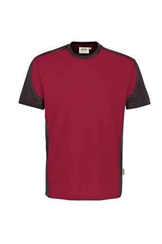 HAKRO Contrast Performance T-Shirt Rot Grau | XL -