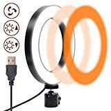 Ring Light Led, Gemwon Anillo de Luz Led Modo de 3 Luces 360 Grados Que Giran 6 Pulgadas USB Luz Anular Regulable para Fotografia, Maquillaje, Movil, Selfie, Transmisión en Vivo y Video de Youtube