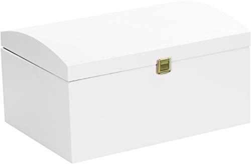 LAUBLUST Große Holztruhe Gewölbter Deckel - 35x25x19cm, Weiß, FSC® | Allzweck-Kiste aus Holz - Aufbewahrungskiste | Deko-Kasten zum Basteln | Erinnerungsbox | Geschenk-Verpackung | Spielzeug-Truhe