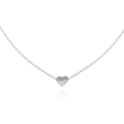 Herzkette Halskette Choker mit Herz Anhänger für Damen in 925 Sterling Silber platiniert, Silberkette für Frauen Modell Heart, Kette klein, Kettchen 35+10cm