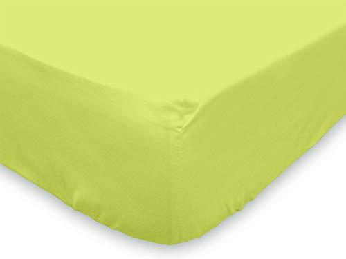 Soleil d'Ocre 613821 Drap Housse coton 57 Fils Vert 140 x 190 cm