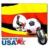 MSD Naturkautschuk Maus Pad/Matte mit genähte Kanten 9,8x 7,9Flagge von Uganda mit Fußball in vor es Bild 24716884 -