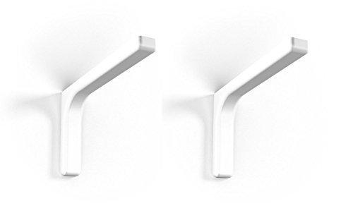 2 Stück - GedoTec® Regalkonsole Regal-Bodenträger Modell LEON aus Metall | Regalträger Tiefe: 24 cm | Tragkraft bis 25 kg | Wandkonsole mit Abdeckkappen weiß inkl. Befestigungsmaterial | Markenqualität für Ihren Wohnbereich