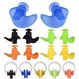 linwnil Nasenklammer, wasserdicht, Silikagel, bequem, weiche Latex, für Kinder und Erwachsene, Mehrfarbig, 10 Stück, WXJ-00015, Nose Clip & Earplugs[5 Pack], S
