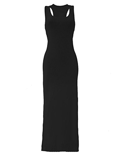 lush-clothing-womens-ladies-plus-size-16-26-jersey-muscle-racer-back-maxi-long-vest-dress-bnwt-black