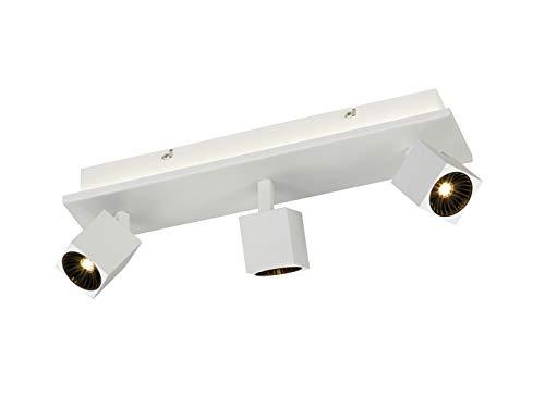 Projecteur de plafond à 3 ampoules LED blanc mat avec éclairage indirect, spots LED orientables pour un design individuel.