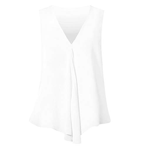 SHE.White Damen Große Größe Hemd Jersey V-Neck Tank Top Sommer Ärmellos Vest Weste Tops Einfarbig Oberteile S-6XL - Original-cool Mint