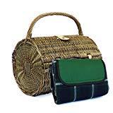 2 personnes Harrington Style Barrel Picnic Basket Panier avec accessoires et couverture de pique-nique traditionnelle étanche - Idées cadeaux pour anniversaire, mariage, anniversaire et entreprise
