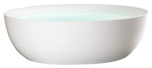Freistehende Badewanne TERRA Acryl Weiß matt - 186 x 88 x 60 cm - Standarmatur wählbar, Standarmatur:Ohne Standarmatur, Siphon:Ohne Siphon (Stone Freistehende Badewanne)