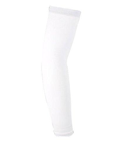 Qitun 1 Stück Unisex UV-Schutz Armlinge Sonnenschutz Kompressions Armstulpe für Radsport Wandern Golf Basketball Driving Outdoor Sport Tattoo Decke Elbow Sleeve Weiß M