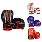 VECTOR Sports Pro Style Kids Boxing kickboxing bambini MMA sparring Gear Junior guanti da allenamento per sacco Maya Hide in pelle realizzata a mano 4–170,1gram, Black