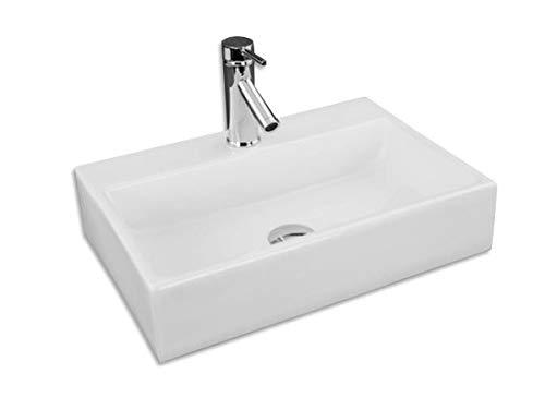 Design Keramik Waschtisch Handwaschbecken Wandwaschbecken Aufsatz-Waschschale 50cm x 35cm x 12cm FÜR BADEZIMMER GÄSTE WC Valeria -