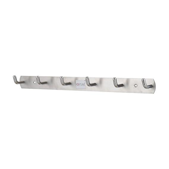 Fortunetm Premium Hook Plate / Hook Patti Stainless Steel Coat Bath Towel Hook Hanger Rail Bar - (1, 6 Hooks)