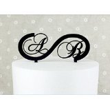 Initiale Infinity Hochzeit Tortenaufsatz Custom Monogramm Name Kuchen Decor personalisiert mit A B C D E F G H I J K L M N O P Q R S T U V W x Y Z