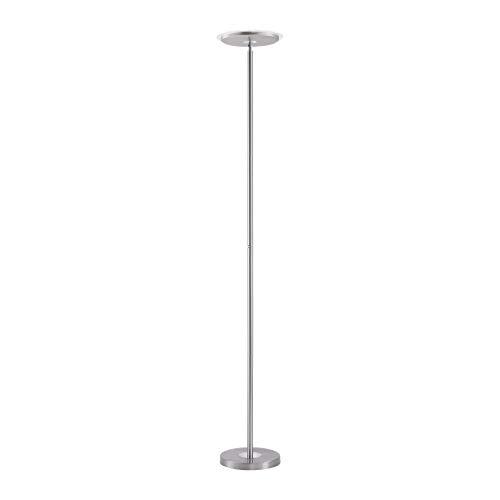 LED Deckenfluter, Stehlampe Fluter mit Touch-Dimmer, Farbe: silber, 20 Watt 2500 Lumen warmweiss