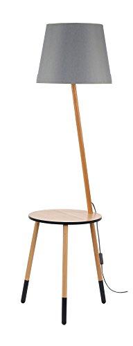 Stehleuchte Dreibein Holz Grau Braun H 152cm E27 Trichter Schirm Stoff  Stehlampe Skandinavisches Design Wohnzimmer Standleuchte