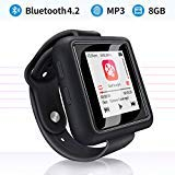 Mymahdi Sport Music Clip, 8 GB Bluetooth-MP3-Player mit FM-Radio- / Sprachaufzeichnungsfunktion, Schwarz mit Touchscreen, Maximal 128 GB