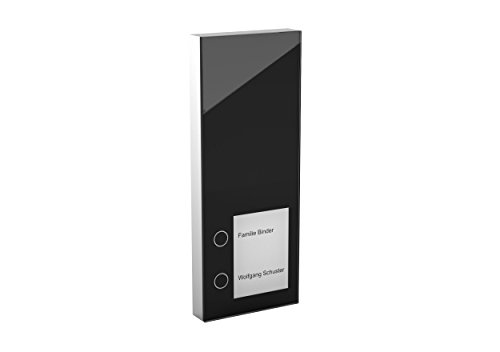 DoorLine Slim Schwarz Türsprechanlage, Klingel, Türöffner anschließbar, Haustelefon und Handy als Gegensprechanlage, Anschluss a/b 2-Draht, Aufputz auf Standard Unterputzdose