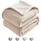 kawahome Strick-Blaue Sherpa-Decke Größe Plüsch Flauschig Dicke Decke Super Soft Extra Warm Elegant Geschenk Decke für Bett Couch Sofa Queen Camel Sherpa Heather