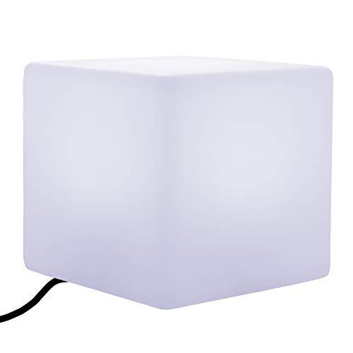 PK Green Erstklassiger LED Würfel Hocker Sitz 40 cm | Glühbirne E27 Weiß Installiert | Netzbetriebene Stehlampe Modern Wohnzimmer | Sitzhocker Beistelltisch Möbel Design | Leuchtobjekt Bodenleuchte -