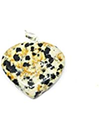 Talk To Crystals White Dalmatian Jasper Stone Heart Shape Pendant with Hook for Unisex (TTC_Pendant 312)