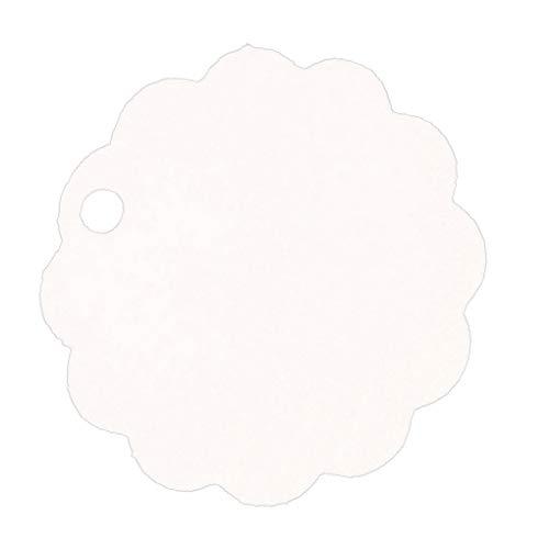 Yangge Yujum 100pcs Solid Color Etikett Kraft Papier Blank Hängeetiketten Mit Bordüren-Partei-Bevorzugung Anmerkungen Geschenkkarte Scalloped Hängen