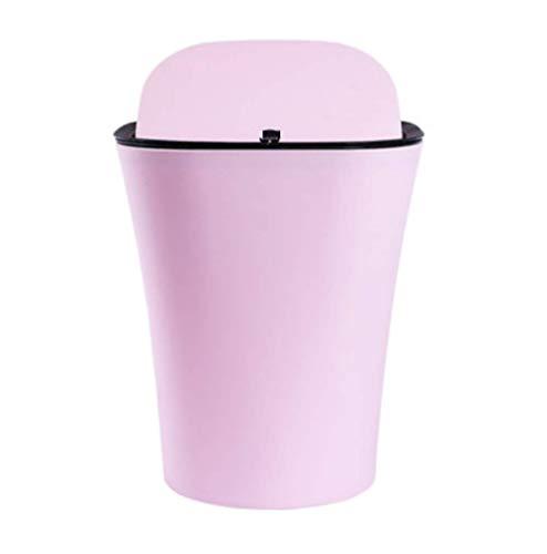 LELME Kunststoff Flip Trash Home Kreative Mode Einfache Runde Trash Wohnzimmer Schlafzimmer Nettes Mädchen Herz Papierkorb