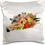 Designs Vintage Designs - Vintage Baltimore Oriole And Lazuli Bunting With Nest And Lovely Roses - 16x16 inch Pillow Case Baltimore Orioles-design