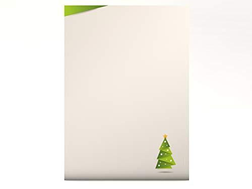 Weihnachtsbriefpapier Weihnachts-Origami grün, A4, 100 Blatt weihnachtliches Briefpapier