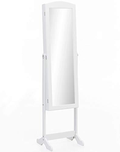 FineBuy Schmuckschrank 41x160x38 cm Weiß Spiegelschrank Groß Schmuckspiegel | Ganzkörper-Spiegel mit Rahmen Flur | Ankleidespiegel Landhaus Schmuck Aufbewahrung | Flurspiegel Modern Rechteckig